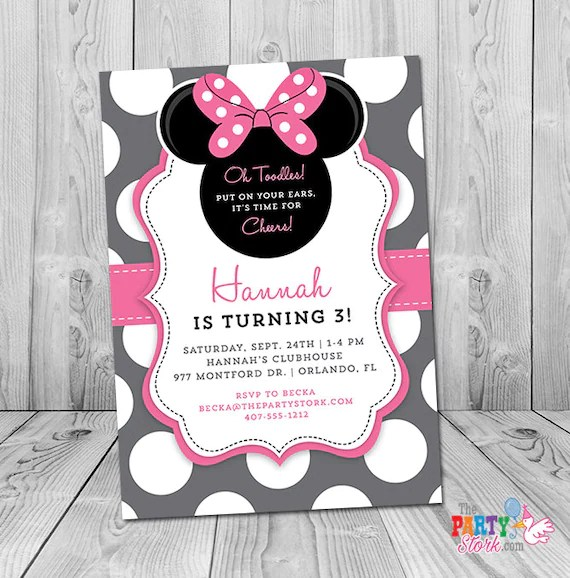 minnie mouse 3rd birthday invitation minnie mouse birthday invitation minnie mouse 3rd birthday invites printable any age or color