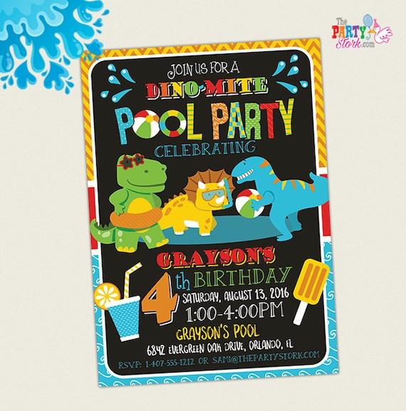 dinosaur pool party invitation