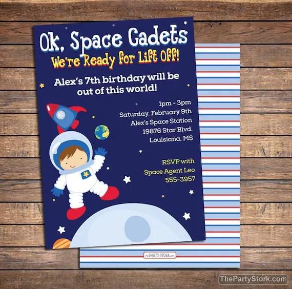 space birthday invitation space