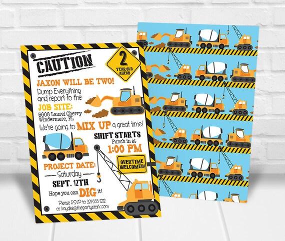 construction birthday party invitation