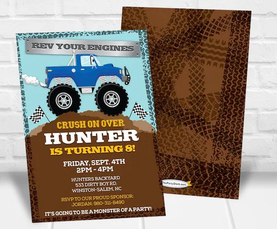 monster truck invitation monster truck