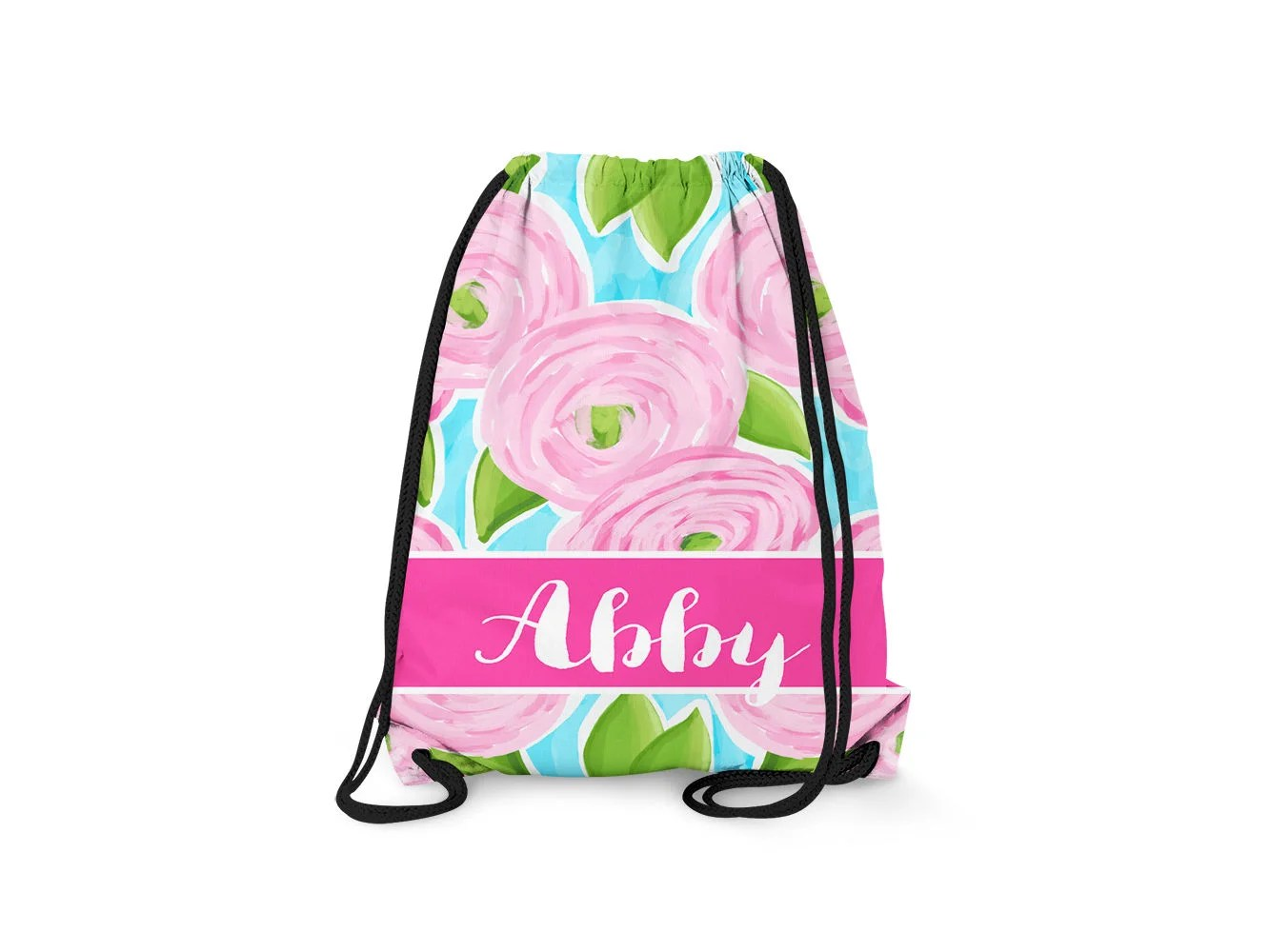 personalized drawstring backpack roses