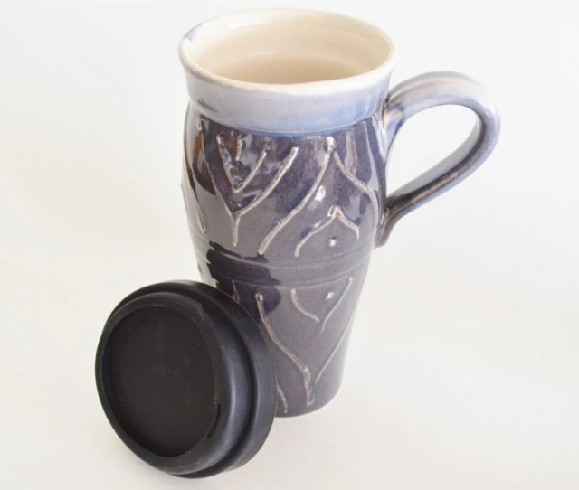 In Stock Coffee Travel Mug With Silicone Lid Large Ceramic Travel Mug With Handle  Oz Stoneware Tea Mug