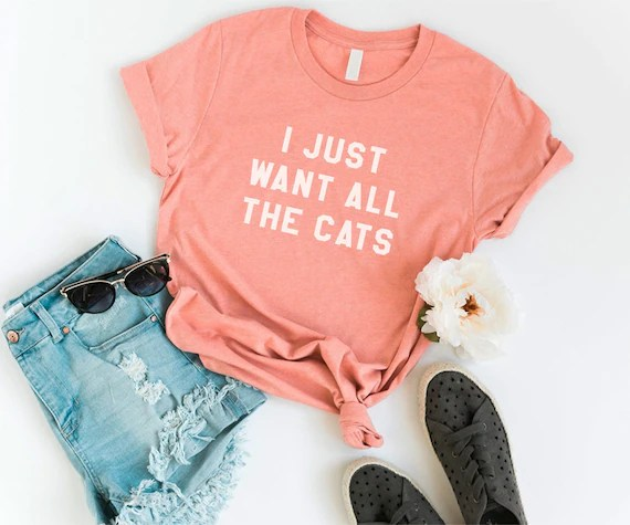 I Just Want All The Cats T-Shirt from Cozy Gal