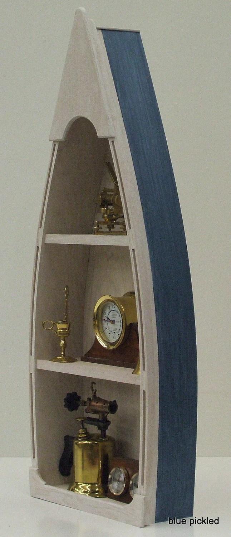 4 Blue Boat Bookcase Canoe Skiff Schooner Dory Shelf Shelves Hang On Wall Wooden Boat