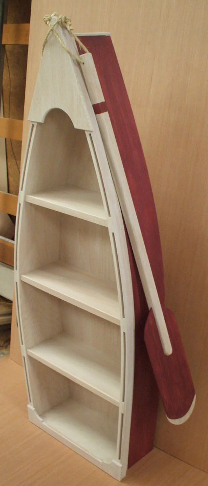 5 Foot Red Row Boat Bookshelf Shelf Bookcase Shelves Skiff Schooner Dory Canoe Nautical Man Cave Wooden Boat