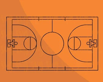 Basketball Court Svg Etsy