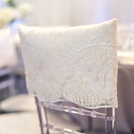 wedding chair covers for bride and groom herman miller dining chairs lace sequins cap chiavari cover etsy image 0