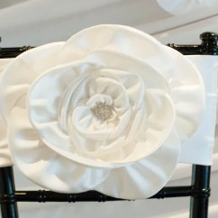 Wedding Chair Covers For Bride And Groom Ergonomic Lounge Magnolia Flower Cover Chiavari Sash Decoration Fancy Sweetheart