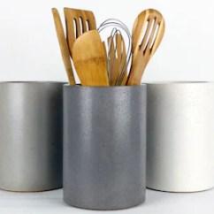 Kitchen Tool Crock Cabinets Charleston Sc Utensil Holder Etsy Concrete Organization Industrial Decor Designer