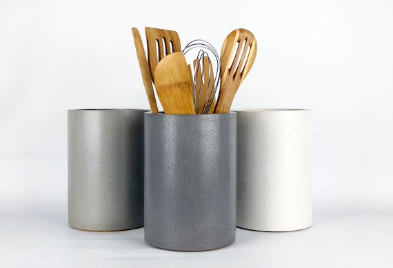 kitchen utensils holder wooden trash cans utensil concrete etsy image 0