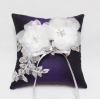 Wedding ring pillow purple ring pillow silk ring pillow