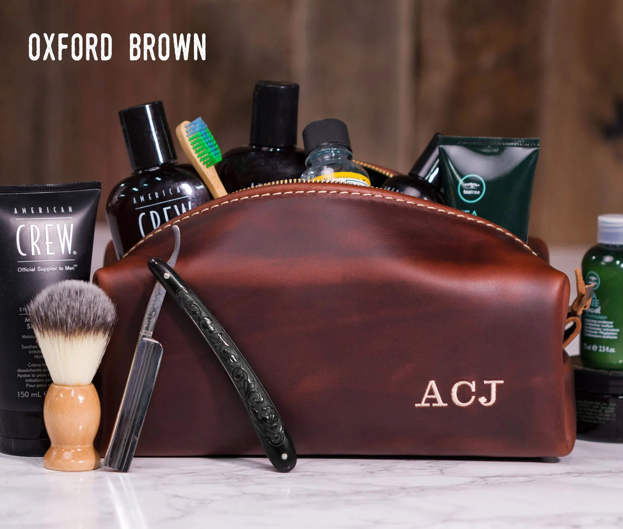 Personalized Leather Dopp Kit Bag Leather Toiletry Bag Oxford Brown
