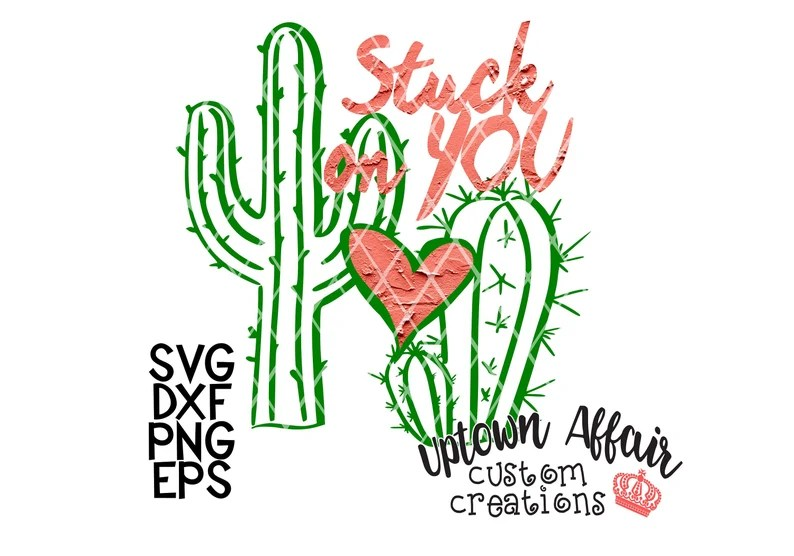 Download Stuck on you cactus heart SVG/PNG/DXF digital cut file | Etsy