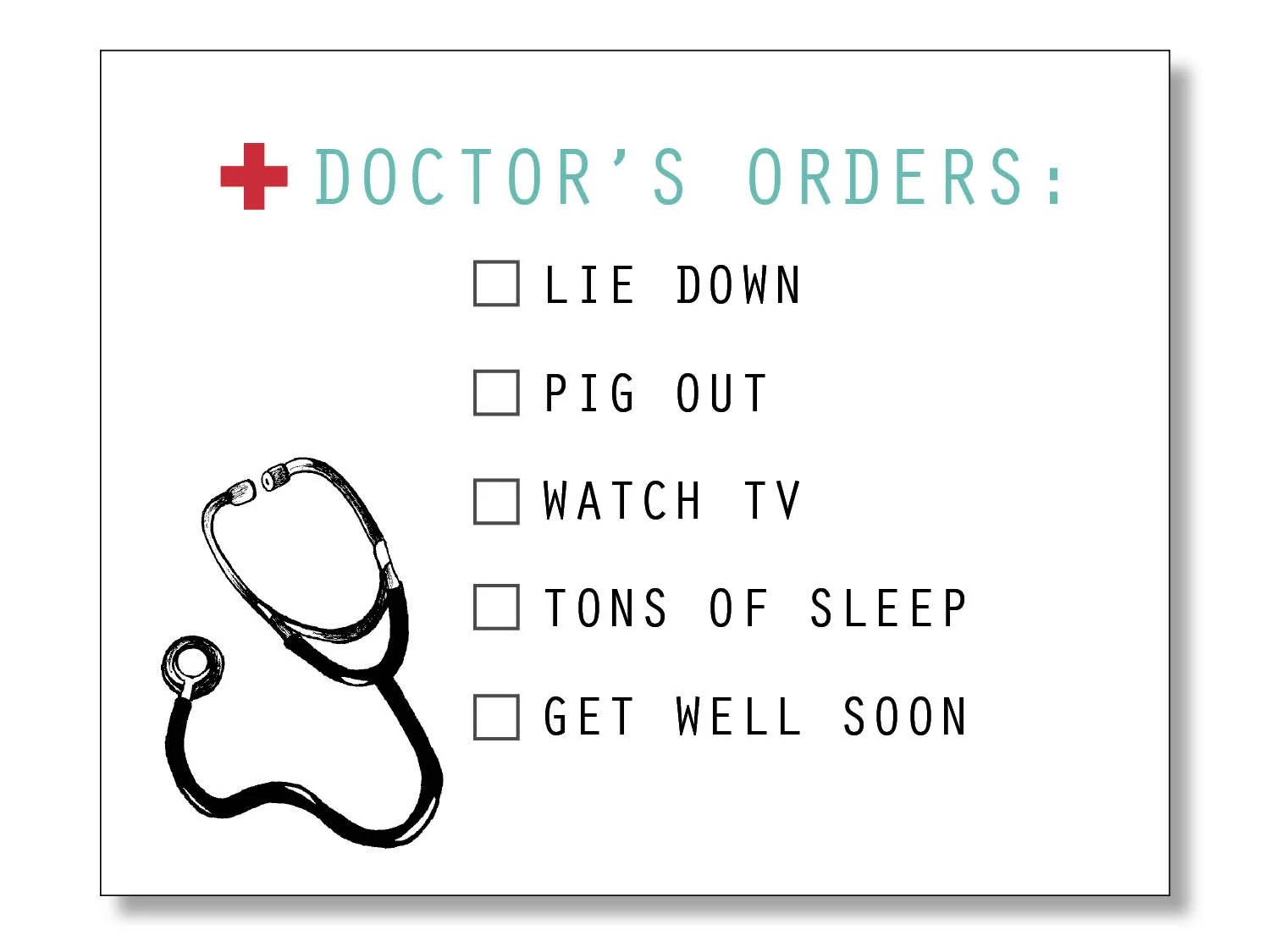 Doctor S Orders Funny Get Well Card Get Well Soon