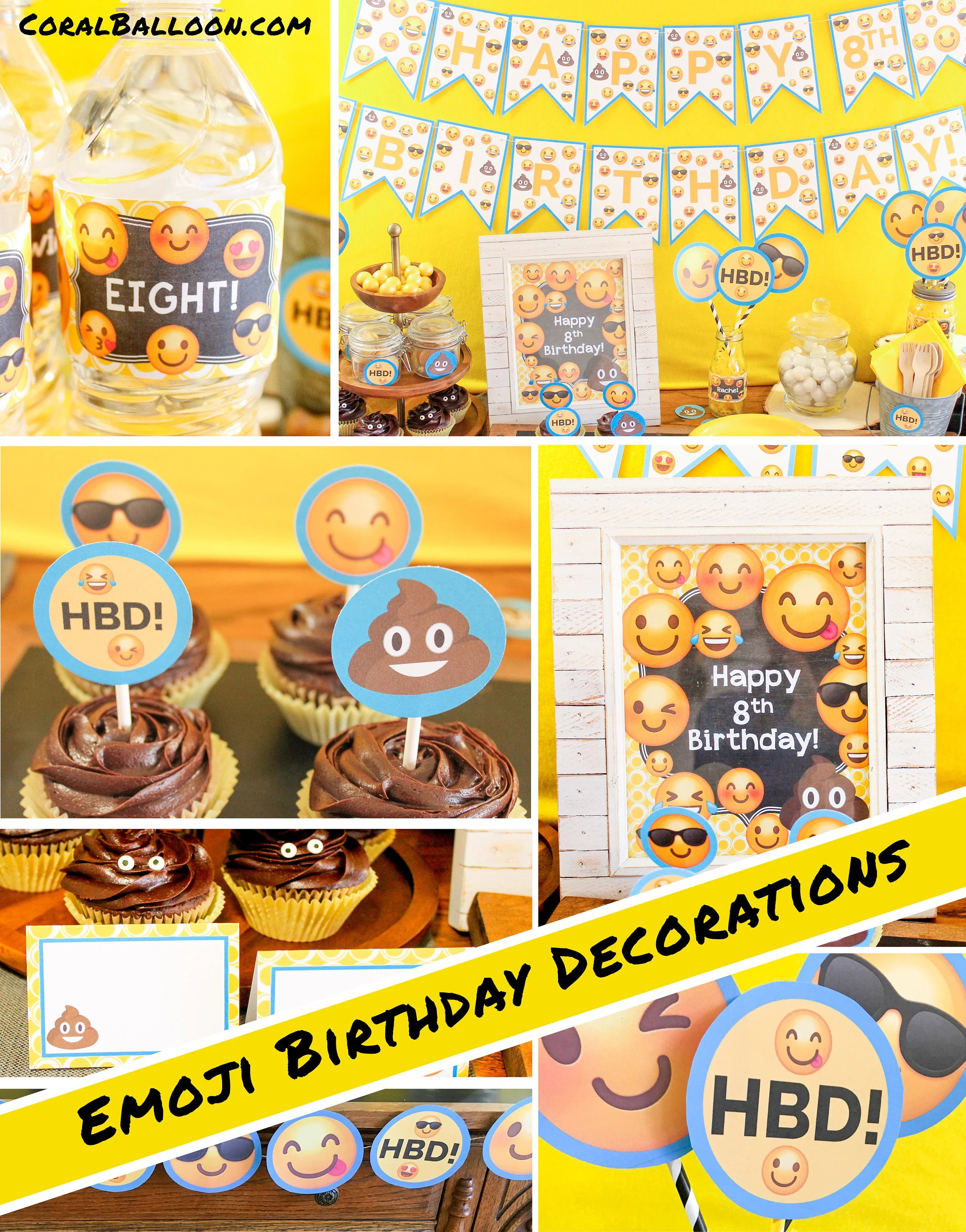 Emoji Birthday Decorations Boy Party Girl Poop Printable