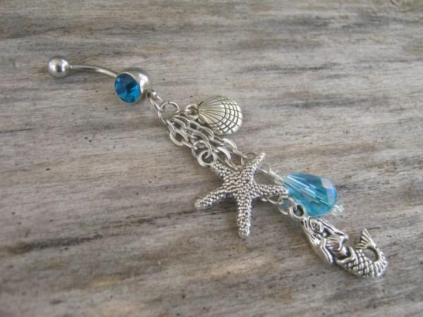 Mermaid Belly Ring Nautical Button Starfish