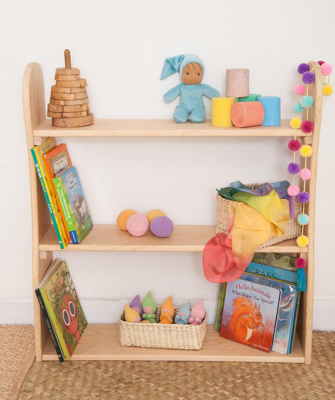 Wood Children Bookshelf Wood Bookcase Solid Wood Book Shelves For Kids Montessori Furniture Waldorf Furniture