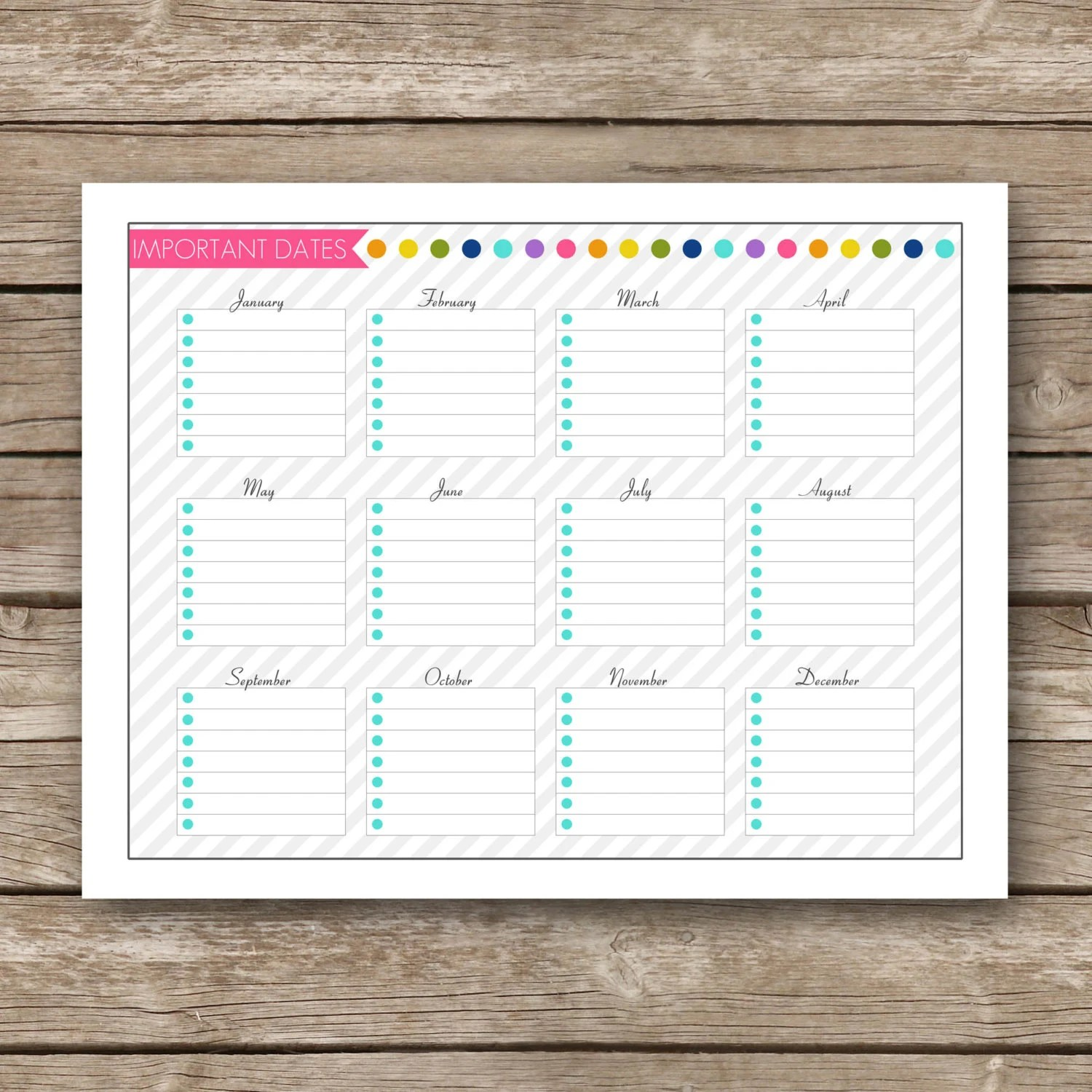 Printable Important Dates Worksheet Generic Any Year