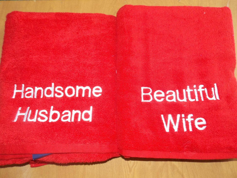 Monogrammed Wedding Gift Anniversary Towels Cotton