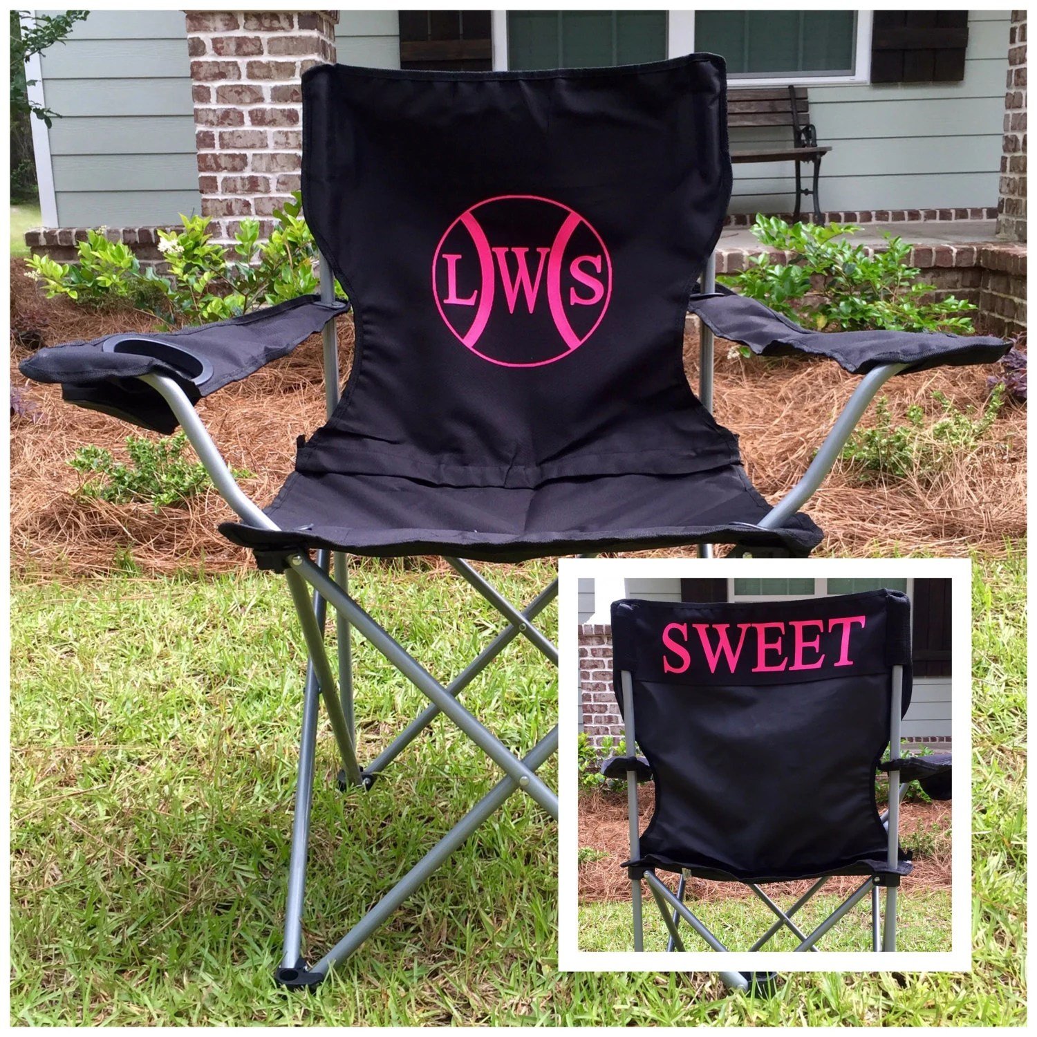 folding chair embroidered upholstered toddler monogrammed personalized chairs custom coach s polyester denier gallery photo