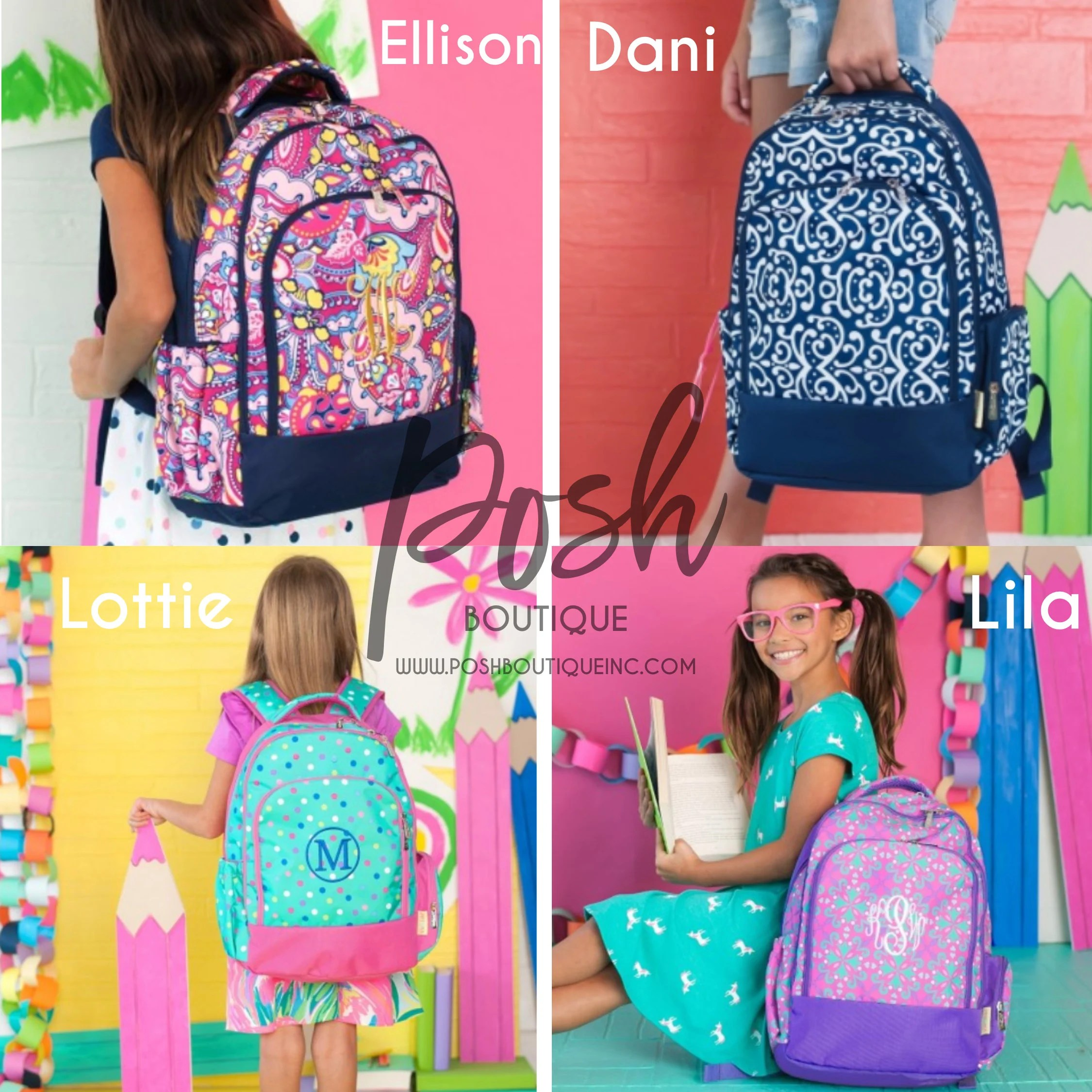 monogrammed backpacks girls and