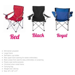 Folding Chair Embroidered Bed Bath And Beyond Wing Back Covers Custom Chairs Monogrammed Camping Personalized Gifts Gallery Photo