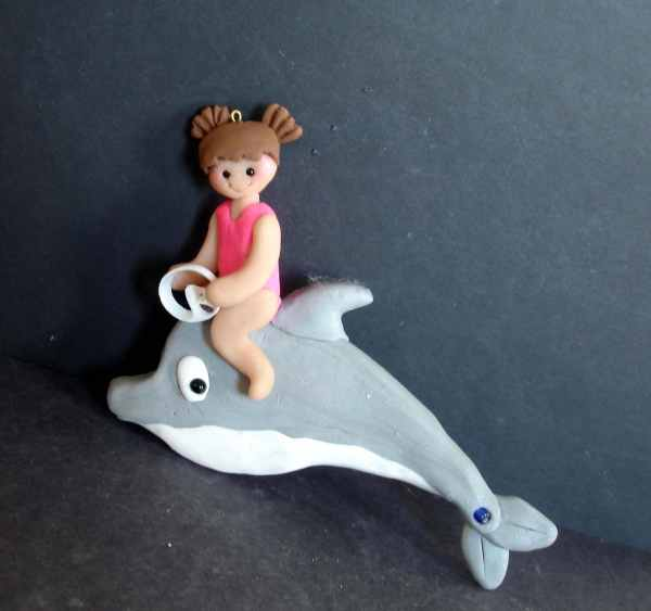 Swimming Dolphin Christmas Ornament Ocean Girl Polymer