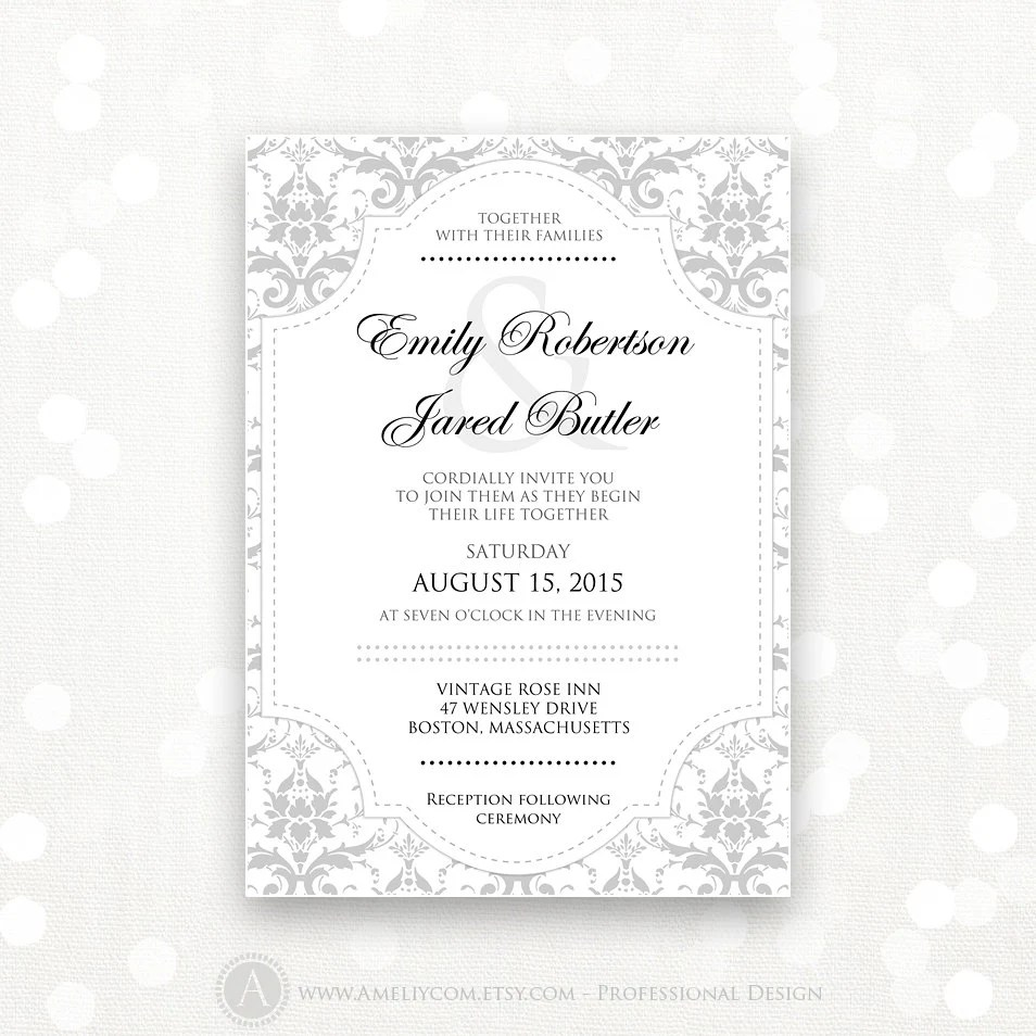 Printable Wedding Invitation Gray Damask INSTANT DOWNLOAD