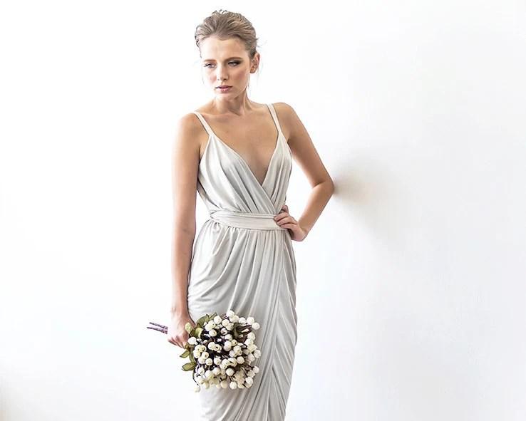 Wrap Maxi Ivory Dress With Straps Tulip Wedding Gown Maxi