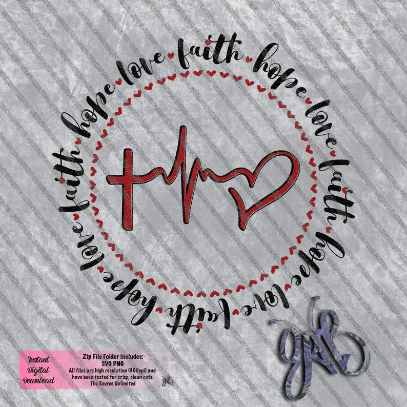 Download Faith Hope Love Cross EKG Heart in a Circle design SVG PNG ...
