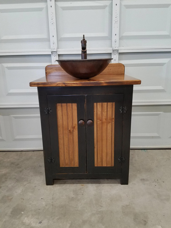 Rustic Bathroom Vanity 30 Farmhouse Vessel Copper Sink Pump Faucet Bathroom Vanity With Sink Sink Faucet Included In Price