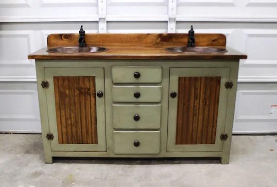 Rustic Farmhouse Vanity 60 Double Bathroom Vanity Etsy