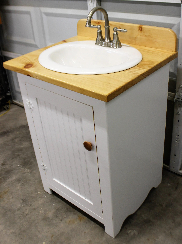 Bathroom Vanity 25 Wide Farmhouse Bathroom Vanity Bathroom Vanity With Sink Bathroom Vanities Natural Wood Top White Sink