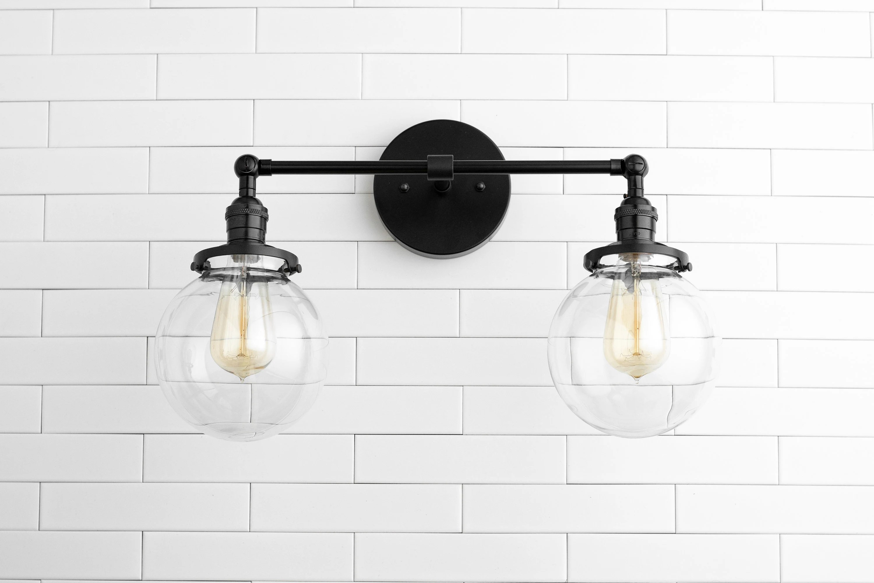 Bathroom Light Fixtures Clear Globe Light Globe Vanity Light Black Light Fixture Bathroom Lighting Farmhouse Light Industrial Light Vanity Lighting