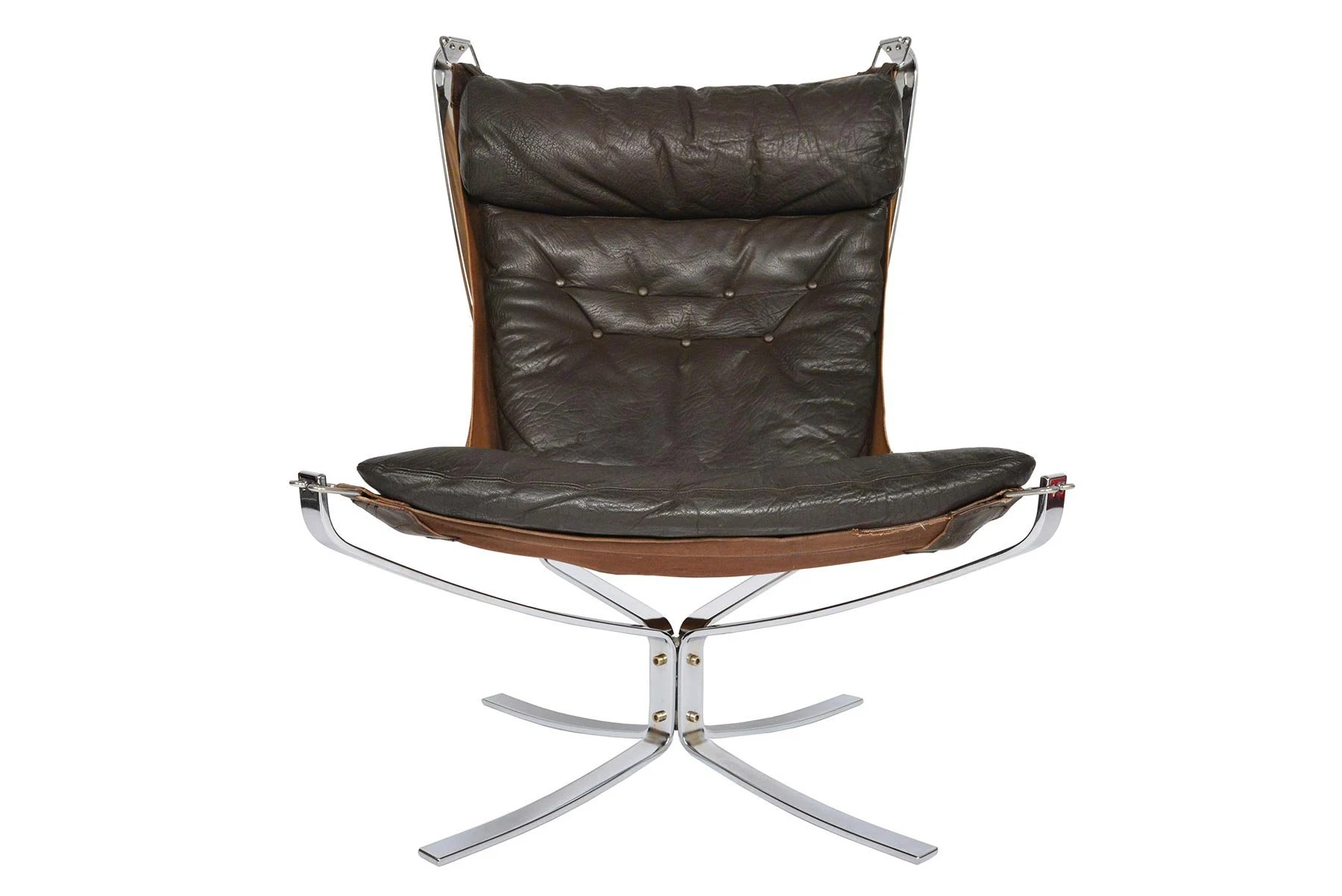 Falcon Chair Scandinavian Modern Mid Century Leather Chrome Falcon Chair By Sigurd Ressell