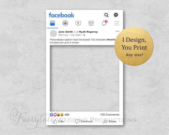personalized facebook frame poster board prop for birthdays weddings graduations corporate events bridal showers diy digital print