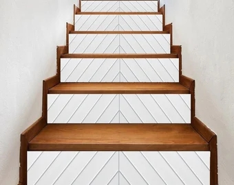 Stair Riser Tiles Etsy | Wood Stairs With Wood Risers | Painting | Solid Oak Stair Treads Finished | Distressed | Before And After | Wooden
