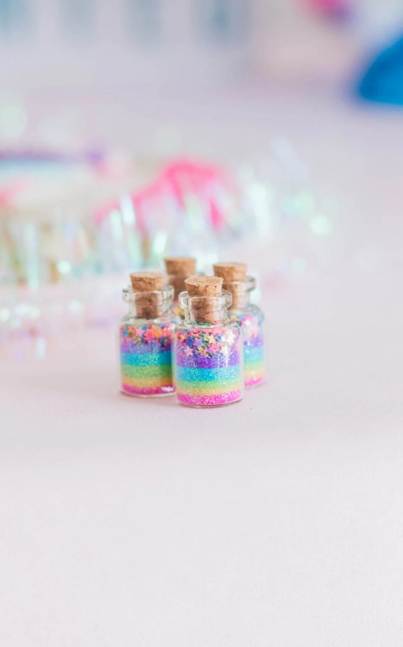 Unicorn party ideas, unicorn favor jars