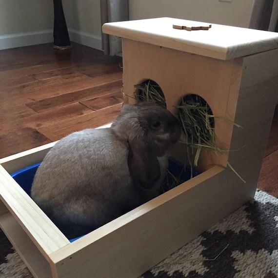 rabbit hay feeder with litter box etsy