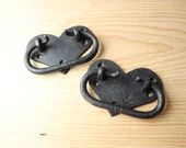 Forged heart chest handles, hand forged iron hardware