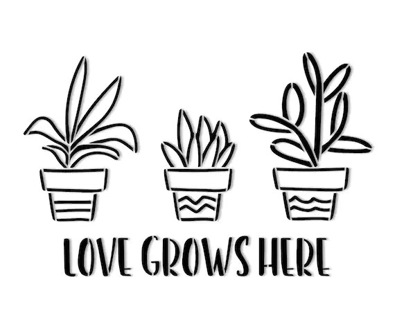 Love Grows Here Succulent Stencil // wood sign // wall