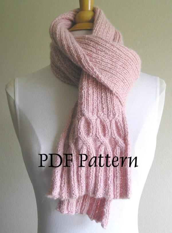 Breast Cancer Ribbin' Scarf Pdf Pattern Knitting