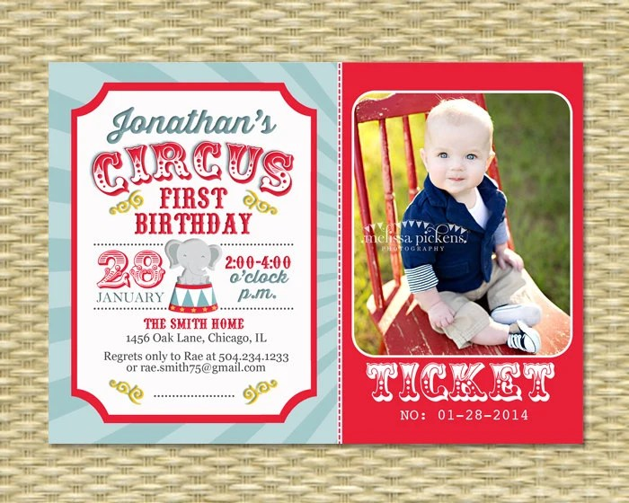 circus first birthday invitation