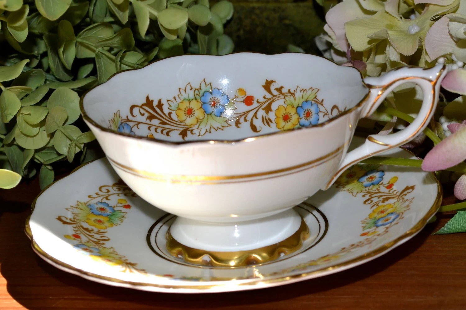 Vintage Royal Stafford Fine Bone China Tea Cup and Saucer   Etsy