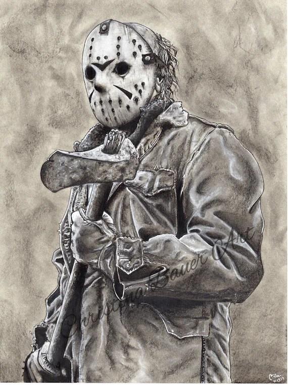 Jason Friday The 13th Drawing : jason, friday, drawing, Jason, Vorhees, Friday, Drawing, ORIGINAL
