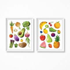 Fruit Decor For Kitchen Corner Tables Etsy And Veggie Print Set Of 2 Watercolor Printable Fruits Vegetables Art Digital Files
