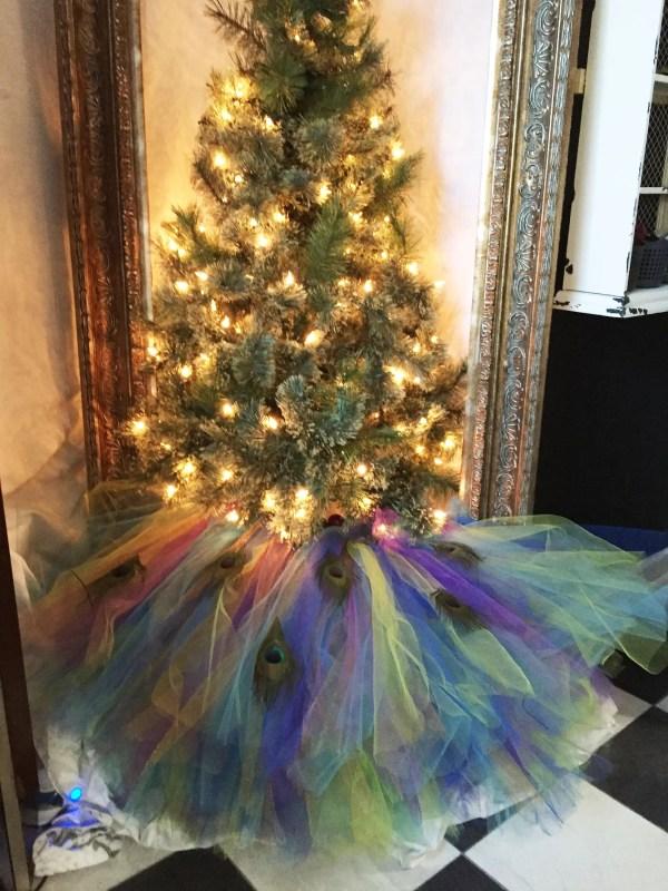 Peacock Themed Christmas Tree Skirt