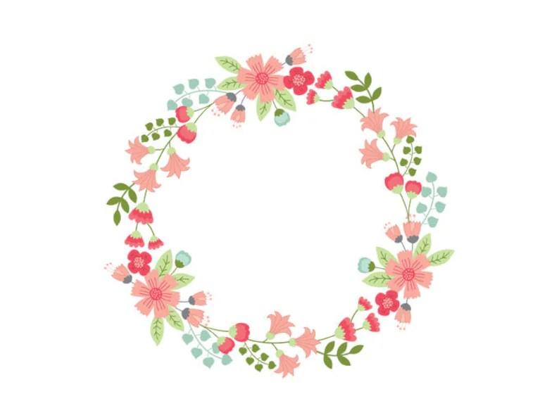 floral wreath clipart digital
