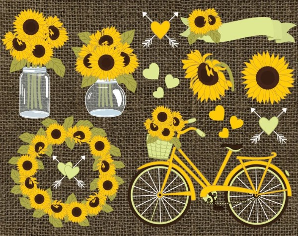 sunflowers clipart vector
